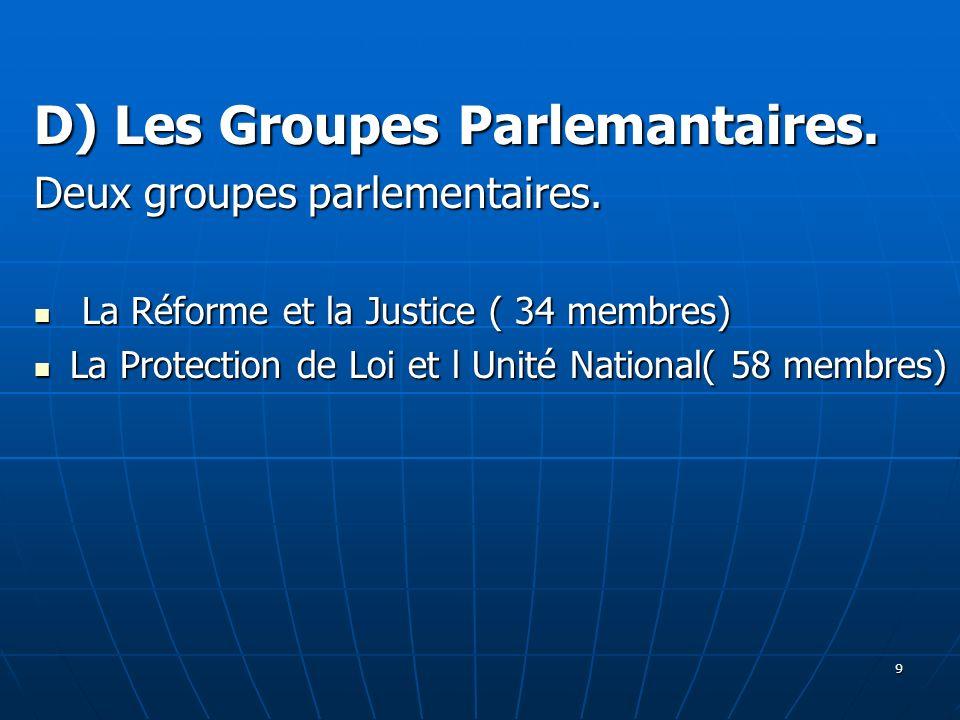 D) Les Groupes Parlemantaires.