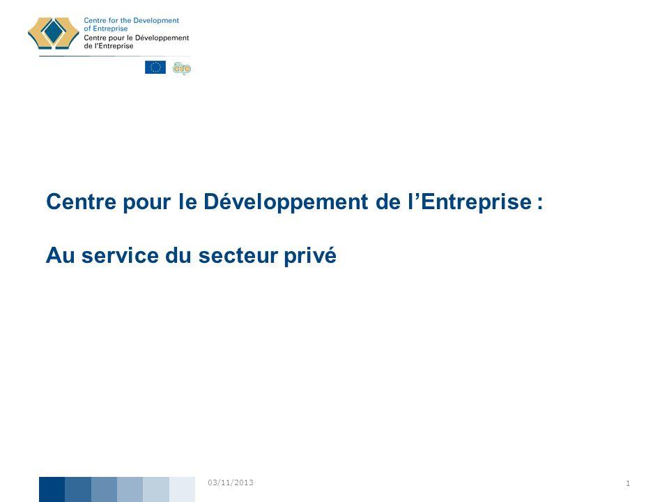 Centre pour le Développement de l'Entreprise : Au service du secteur privé