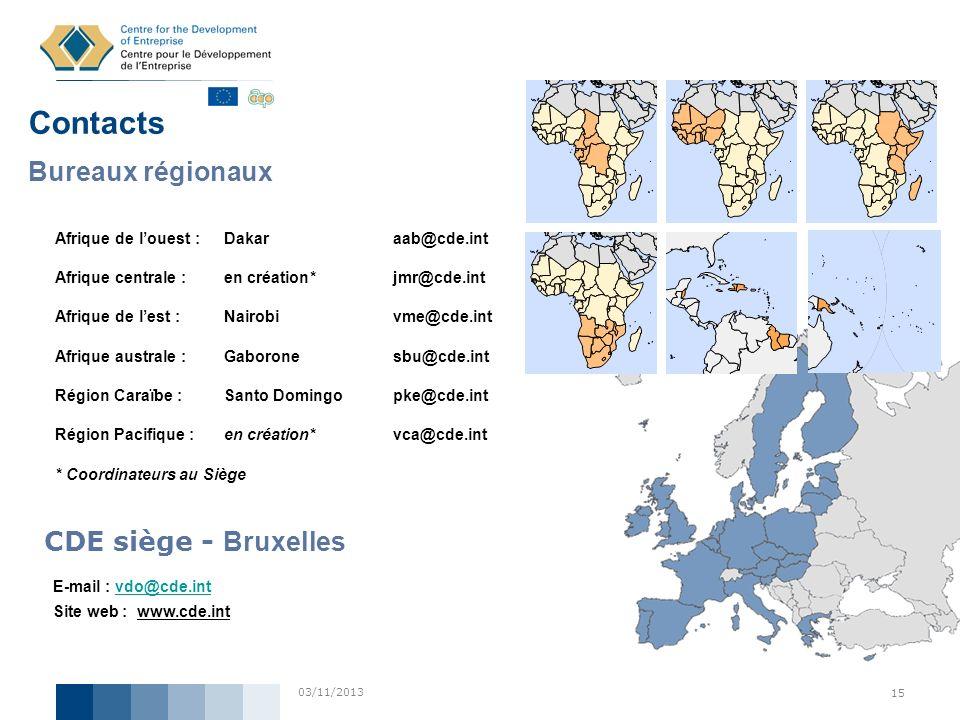 Contacts Bureaux régionaux CDE siège - Bruxelles