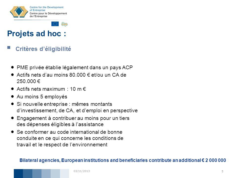 Projets ad hoc : Critères d'éligibilité