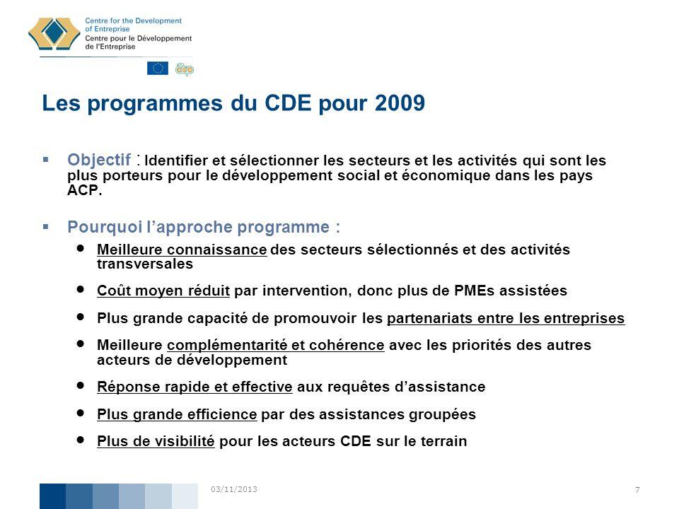 Les programmes du CDE pour 2009