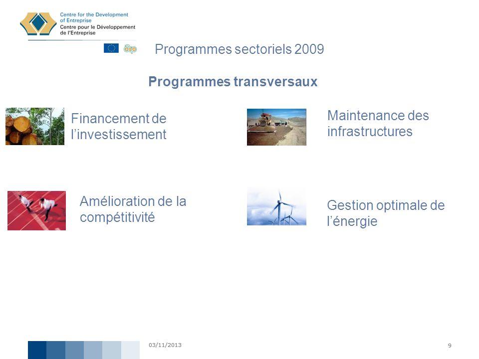 Programmes sectoriels 2009