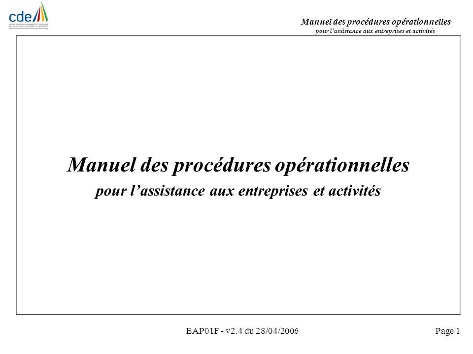 Manuel des procédures opérationnelles