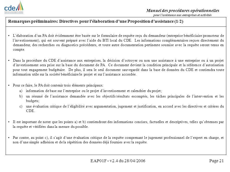 Remarques préliminaires: Directives pour l'élaboration d'une Proposition d'assistance (1/2)