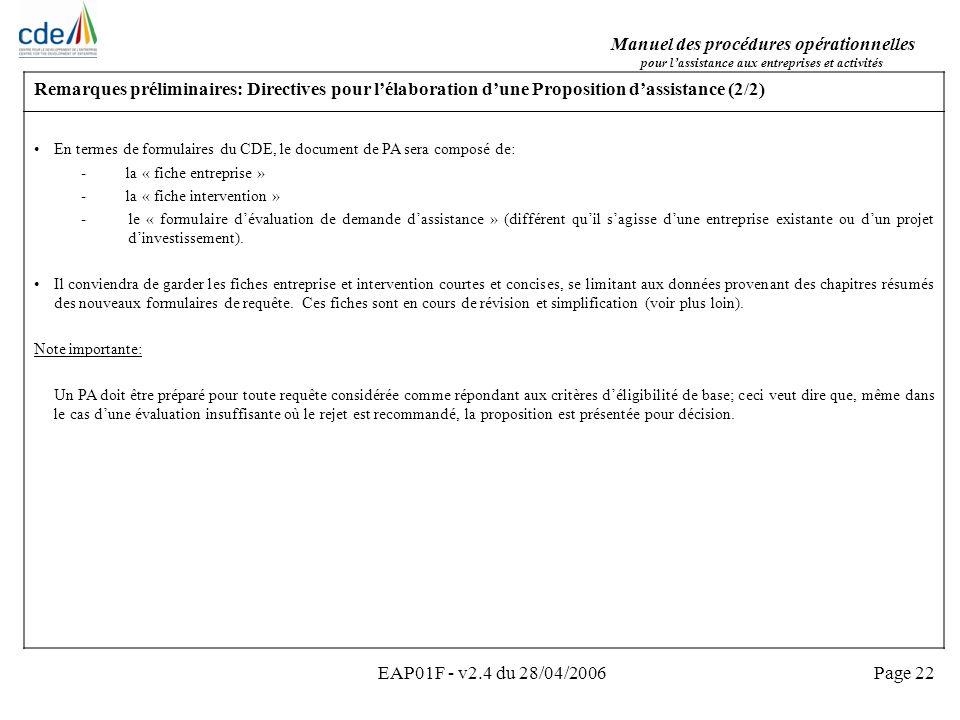 Remarques préliminaires: Directives pour l'élaboration d'une Proposition d'assistance (2/2)