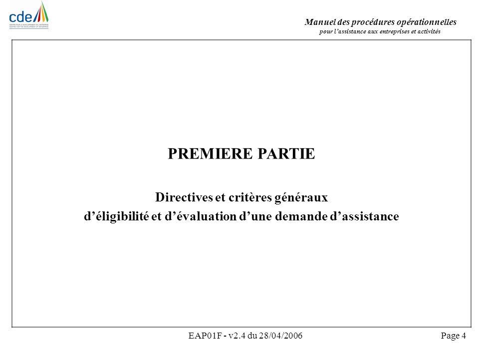 PREMIERE PARTIE Directives et critères généraux