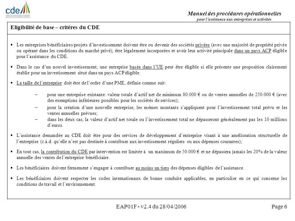 Eligibilité de base – critères du CDE