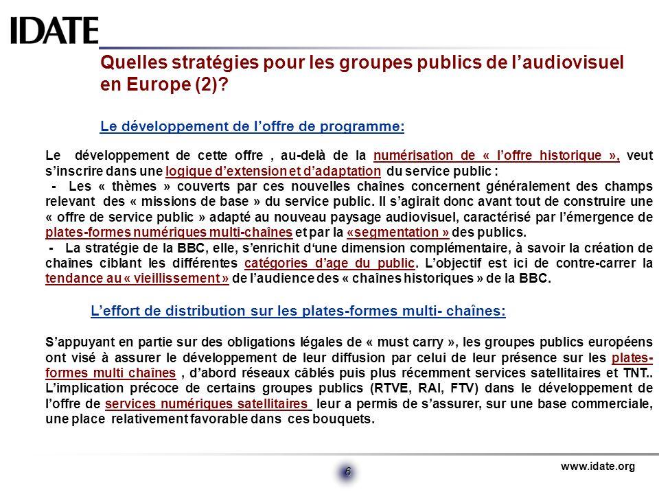 Quelles stratégies pour les groupes publics de l'audiovisuel en Europe (2) Le développement de l'offre de programme: