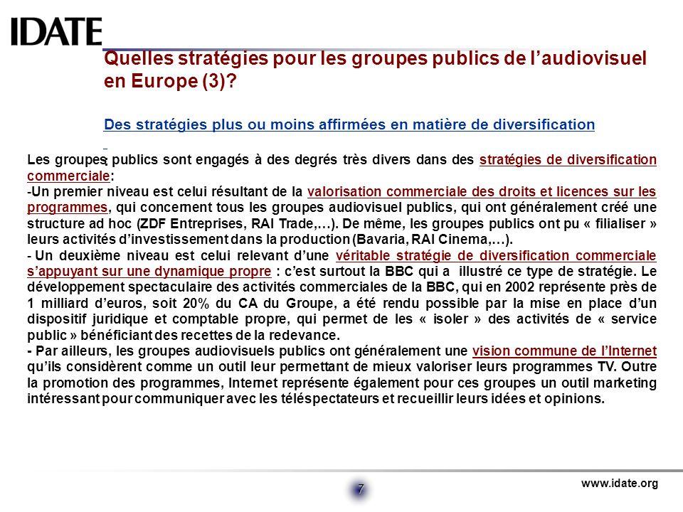 Quelles stratégies pour les groupes publics de l'audiovisuel en Europe (3) Des stratégies plus ou moins affirmées en matière de diversification :