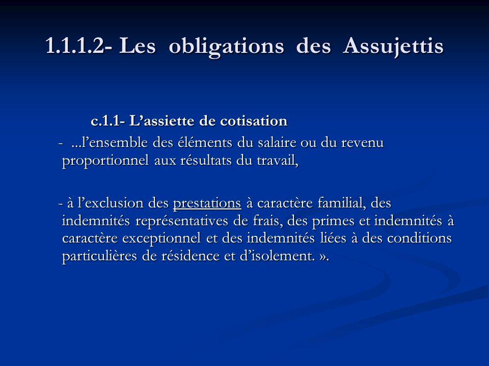 1.1.1.2- Les obligations des Assujettis