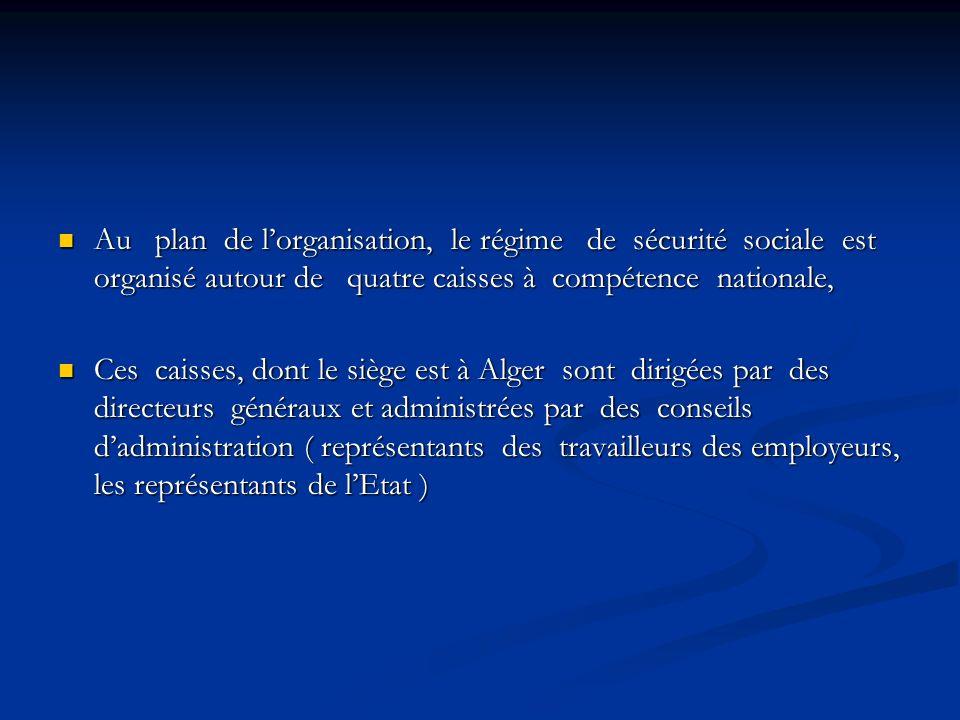 Au plan de l'organisation, le régime de sécurité sociale est organisé autour de quatre caisses à compétence nationale,