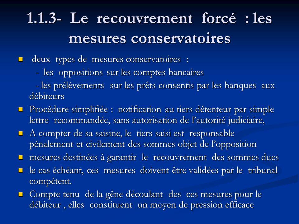 1.1.3- Le recouvrement forcé : les mesures conservatoires