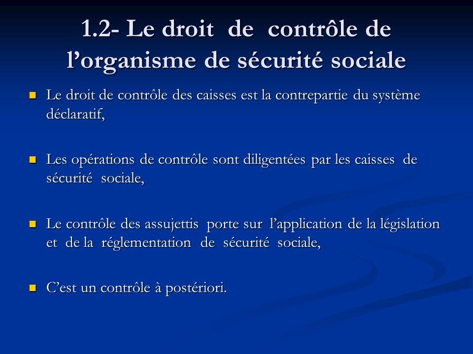 1.2- Le droit de contrôle de l'organisme de sécurité sociale