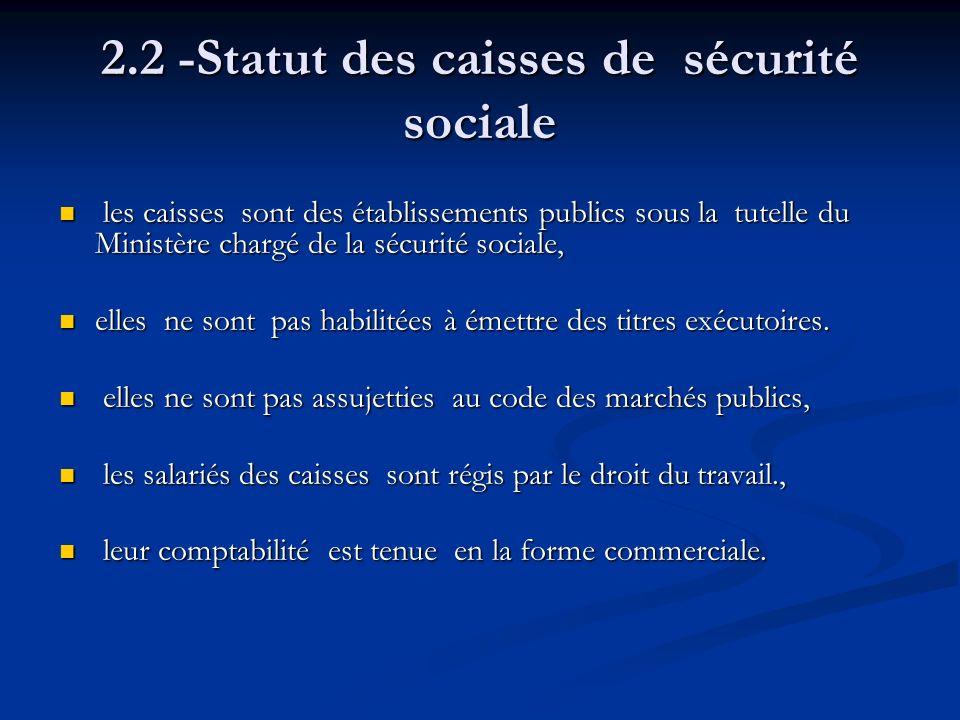 2.2 -Statut des caisses de sécurité sociale