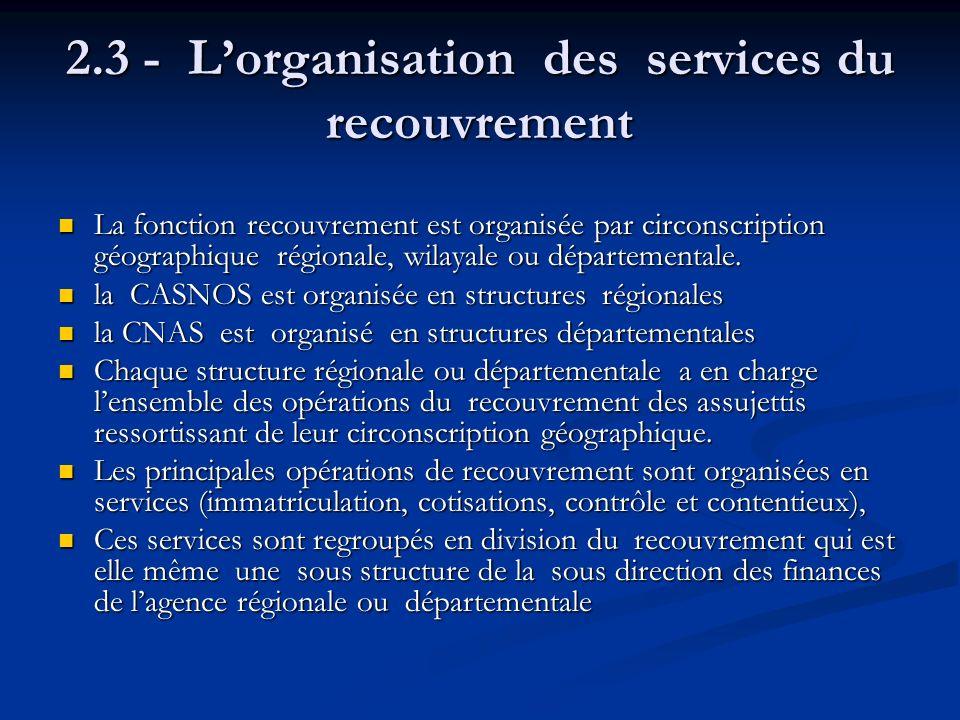 2.3 - L'organisation des services du recouvrement