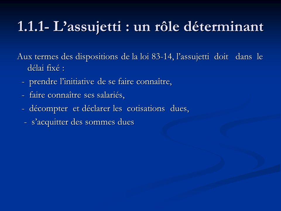 1.1.1- L'assujetti : un rôle déterminant
