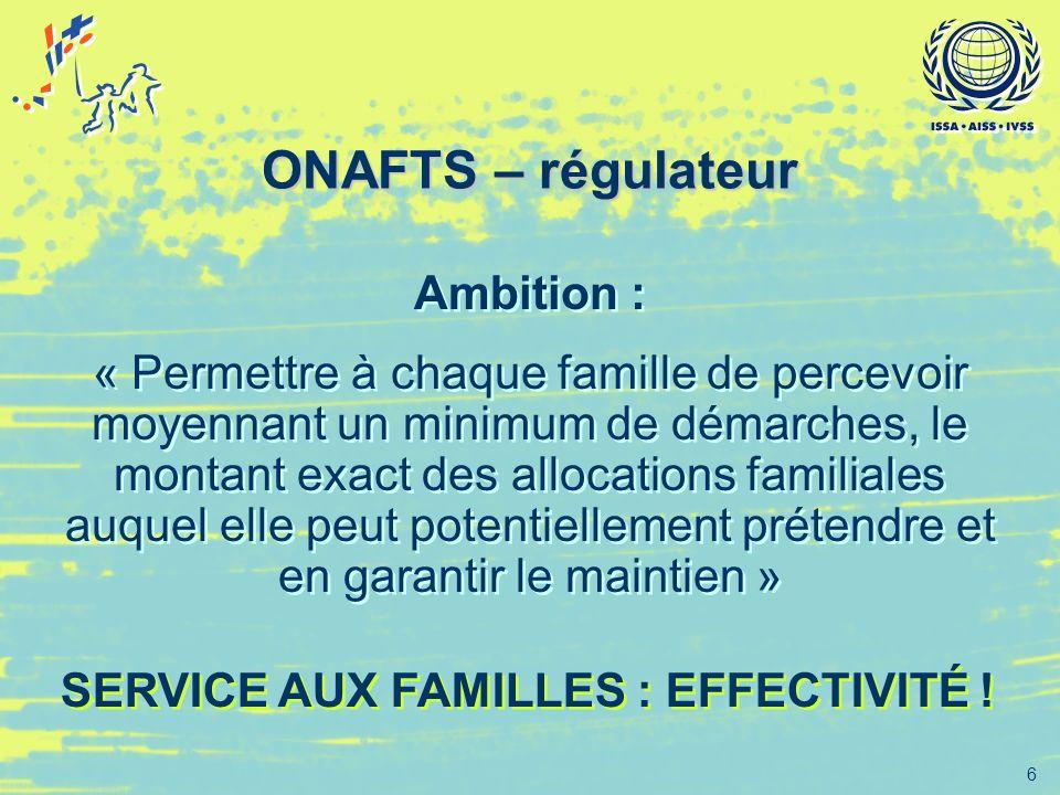 ONAFTS – régulateur Ambition :