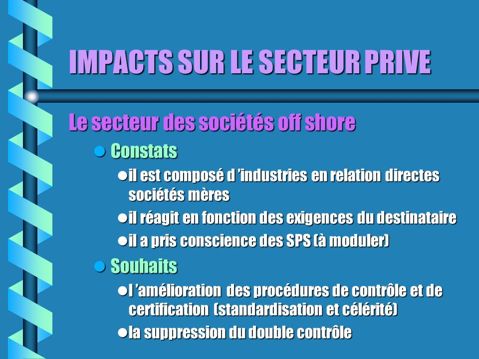 IMPACTS SUR LE SECTEUR PRIVE