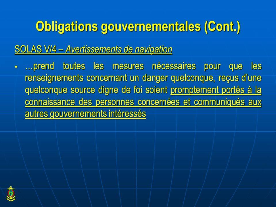 Obligations gouvernementales (Cont.)