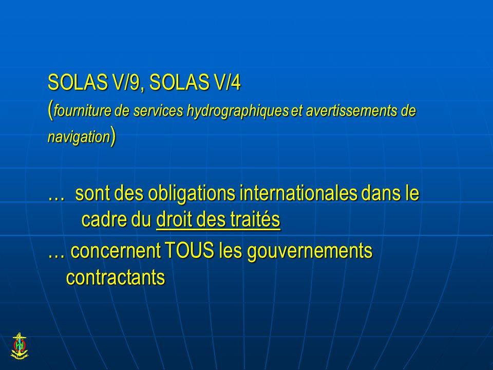 SOLAS V/9, SOLAS V/4 (fourniture de services hydrographiques et avertissements de navigation) … sont des obligations internationales dans le cadre du droit des traités … concernent TOUS les gouvernements contractants