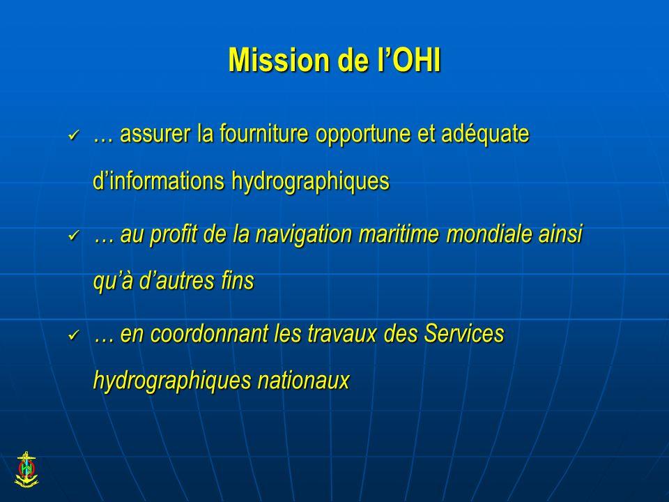 Mission de l'OHI … assurer la fourniture opportune et adéquate d'informations hydrographiques.