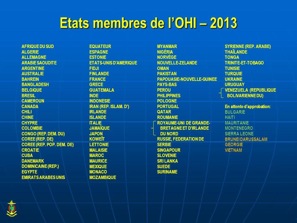 Etats membres de l'OHI – 2013