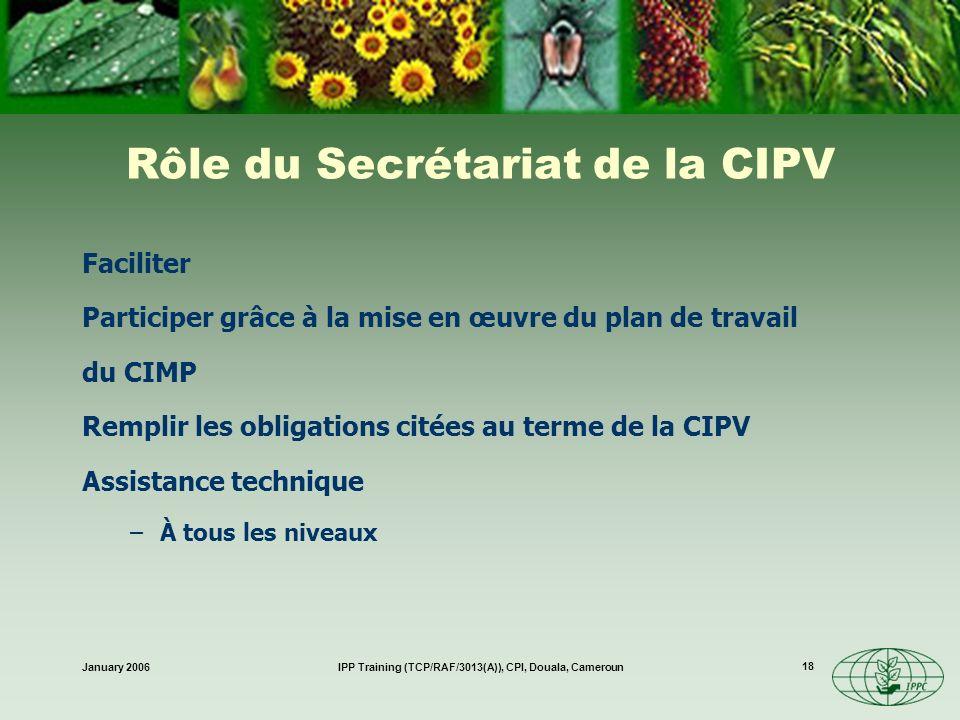 Rôle du Secrétariat de la CIPV