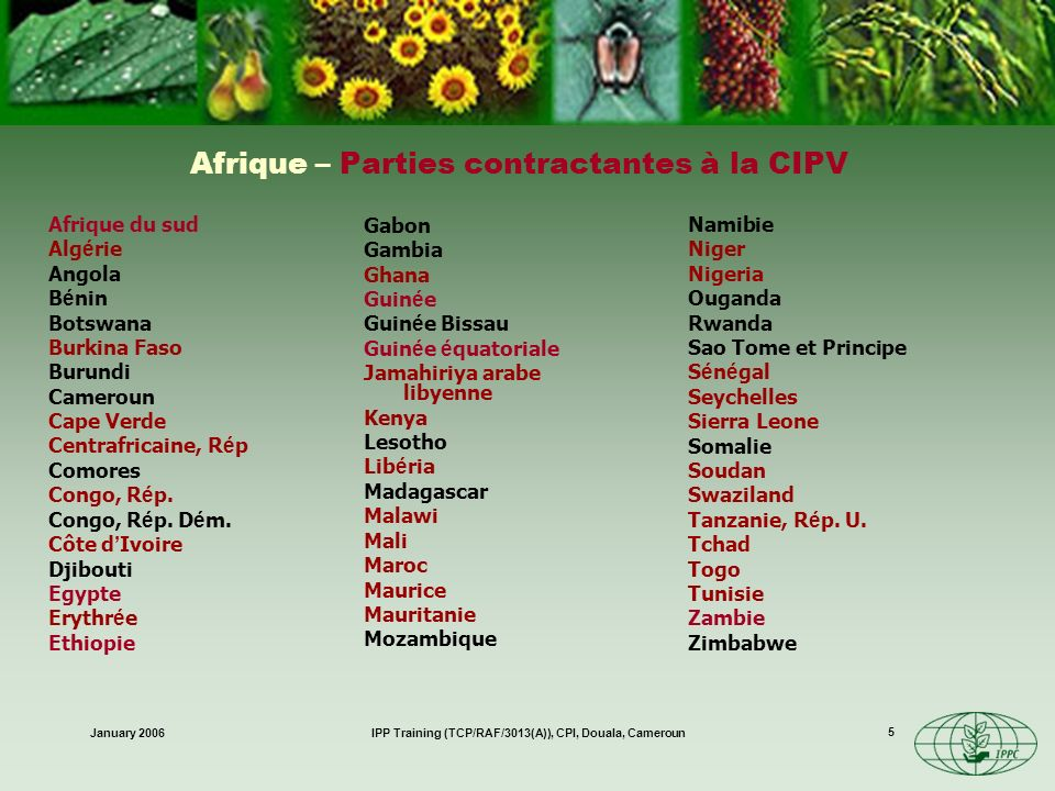 Afrique – Parties contractantes à la CIPV