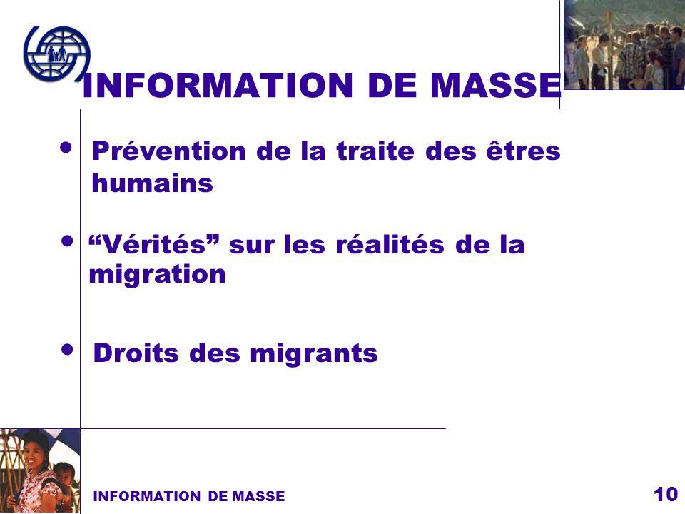 INFORMATION DE MASSE Prévention de la traite des êtres humains