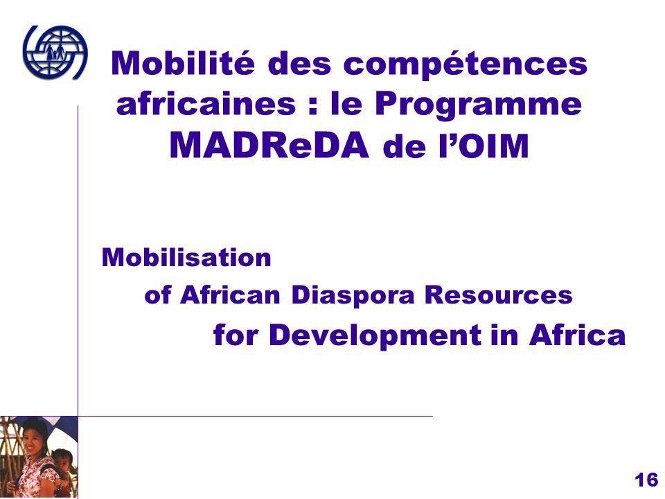 Mobilité des compétences africaines : le Programme MADReDA de l'OIM