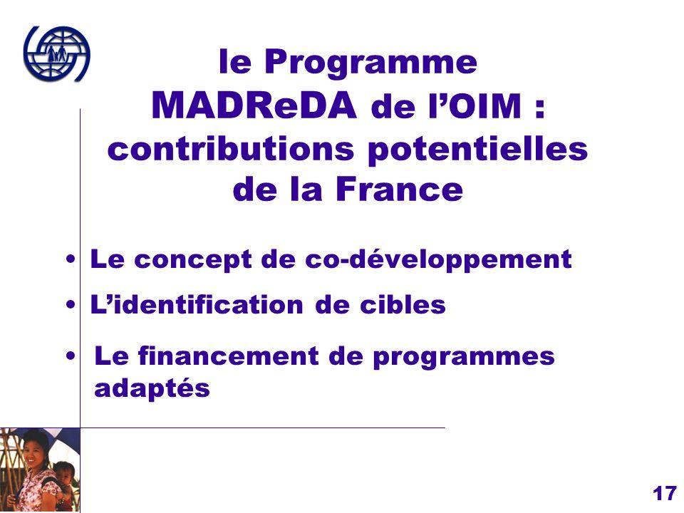le Programme MADReDA de l'OIM : contributions potentielles de la France