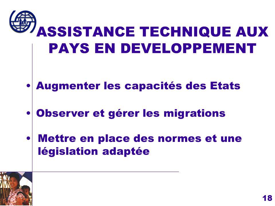 ASSISTANCE TECHNIQUE AUX PAYS EN DEVELOPPEMENT