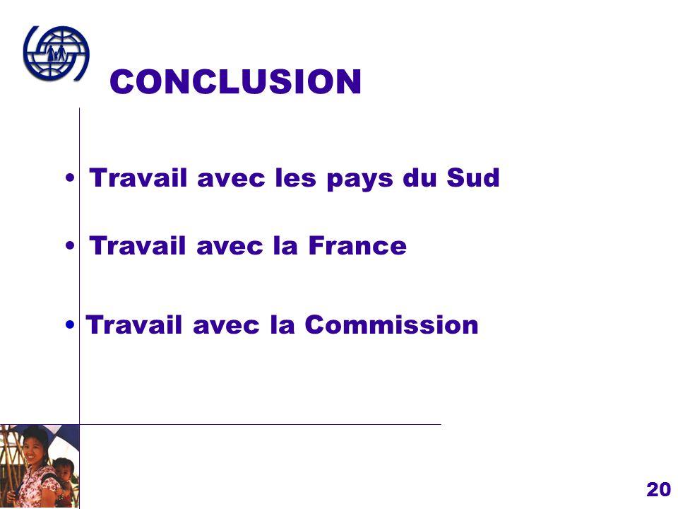CONCLUSION Travail avec les pays du Sud Travail avec la France