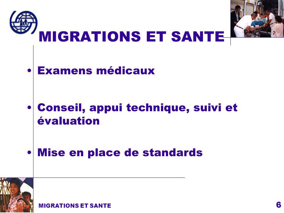 MIGRATIONS ET SANTE Examens médicaux