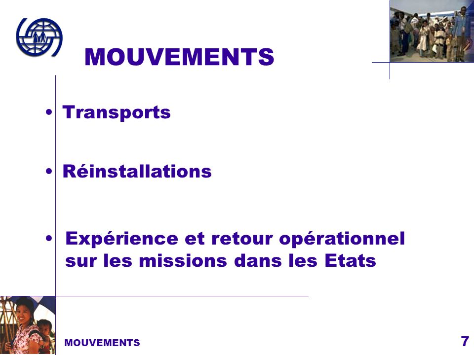 MOUVEMENTS Transports Réinstallations