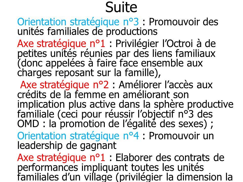 Suite Orientation stratégique n°3 : Promouvoir des unités familiales de productions.