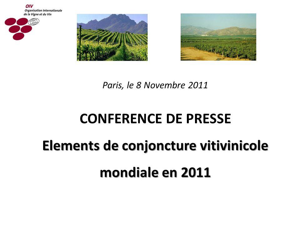 Elements de conjoncture vitivinicole mondiale en 2011