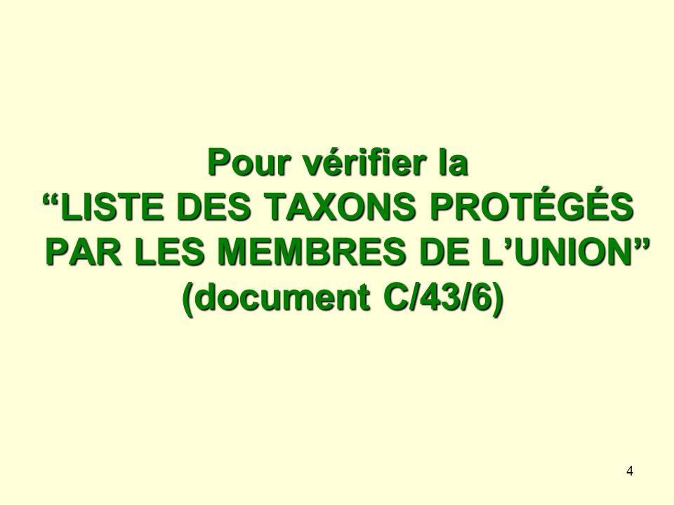Pour vérifier la LISTE DES TAXONS PROTÉGÉS PAR LES MEMBRES DE L'UNION (document C/43/6)