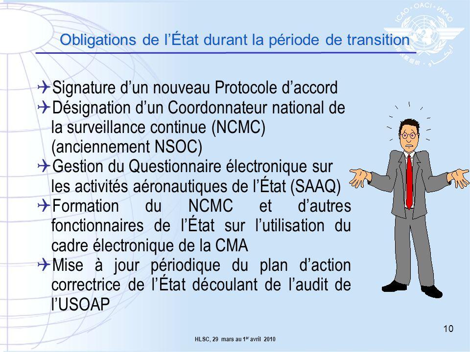 Obligations de l'État durant la période de transition