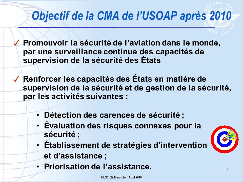 Objectif de la CMA de l'USOAP après 2010