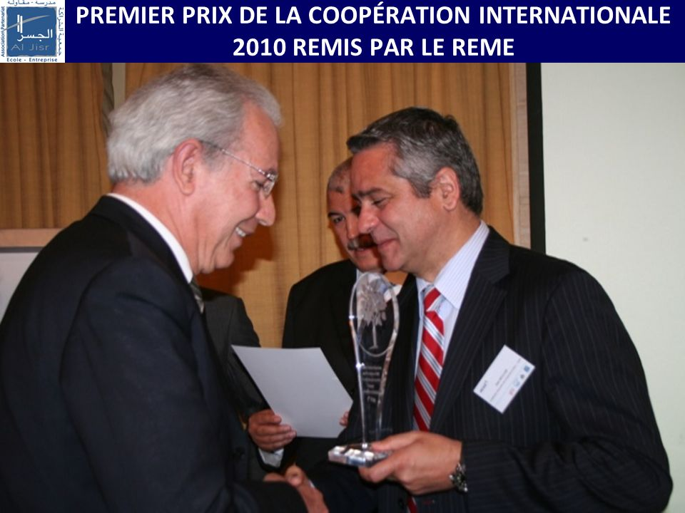 PREMIER PRIX DE LA COOPÉRATION INTERNATIONALE 2010 REMIS PAR LE REME