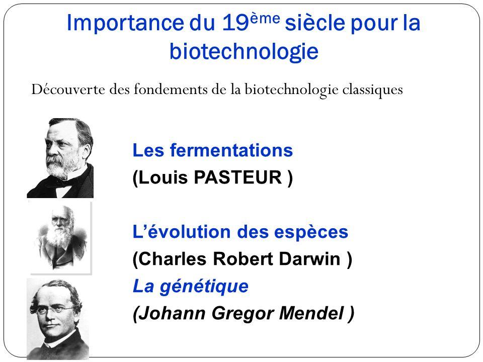 Importance du 19ème siècle pour la biotechnologie