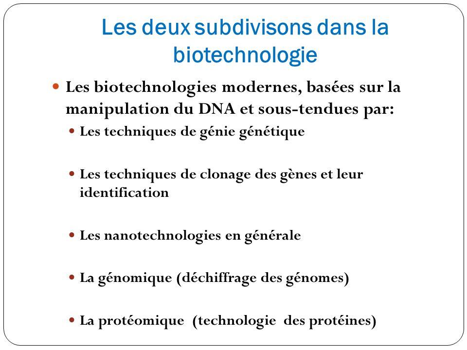 Les deux subdivisons dans la biotechnologie