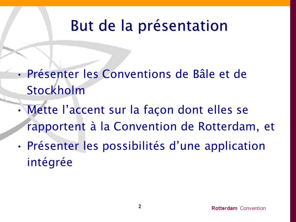 But de la présentation Présenter les Conventions de Bâle et de Stockholm.