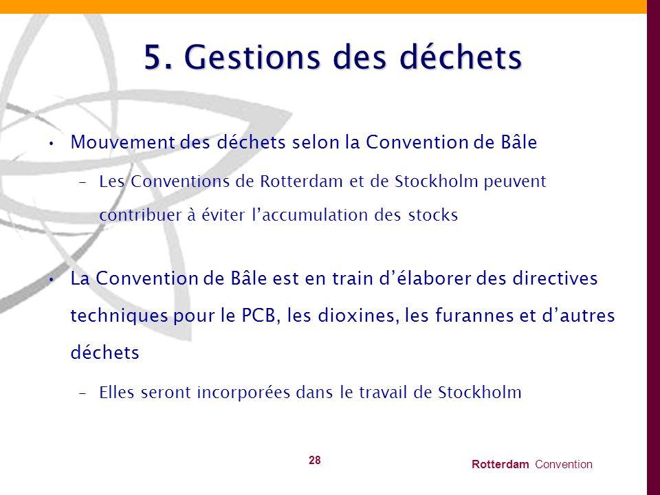 5. Gestions des déchets Mouvement des déchets selon la Convention de Bâle.