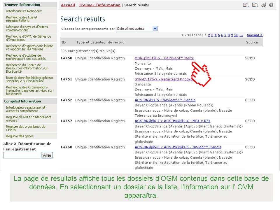 La page de résultats affiche tous les dossiers d'OGM contenus dans cette base de données.