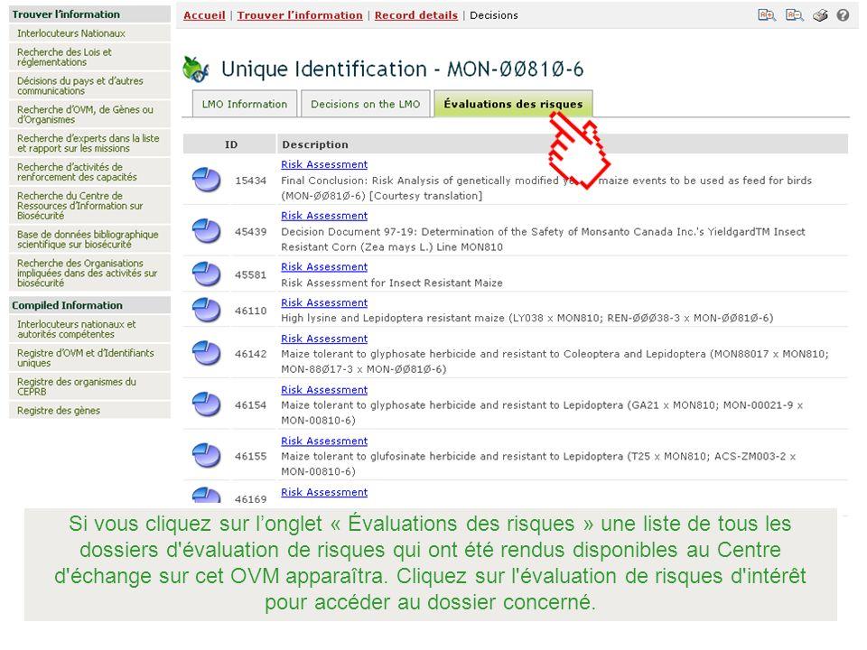 Si vous cliquez sur l'onglet « Évaluations des risques » une liste de tous les dossiers d évaluation de risques qui ont été rendus disponibles au Centre d échange sur cet OVM apparaîtra.
