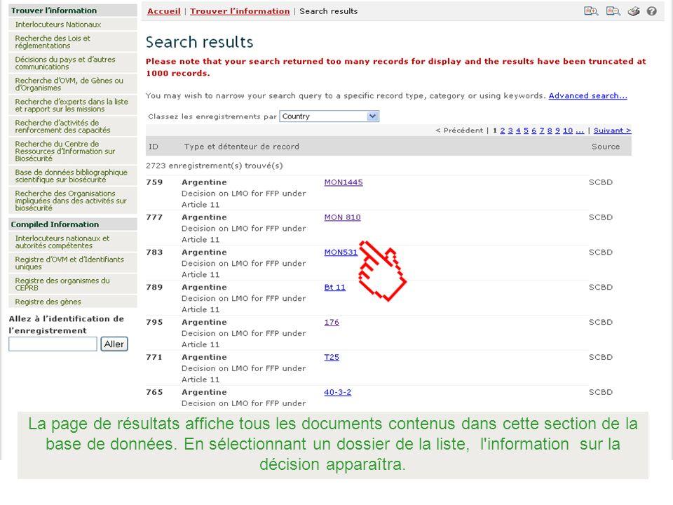 La page de résultats affiche tous les documents contenus dans cette section de la base de données.