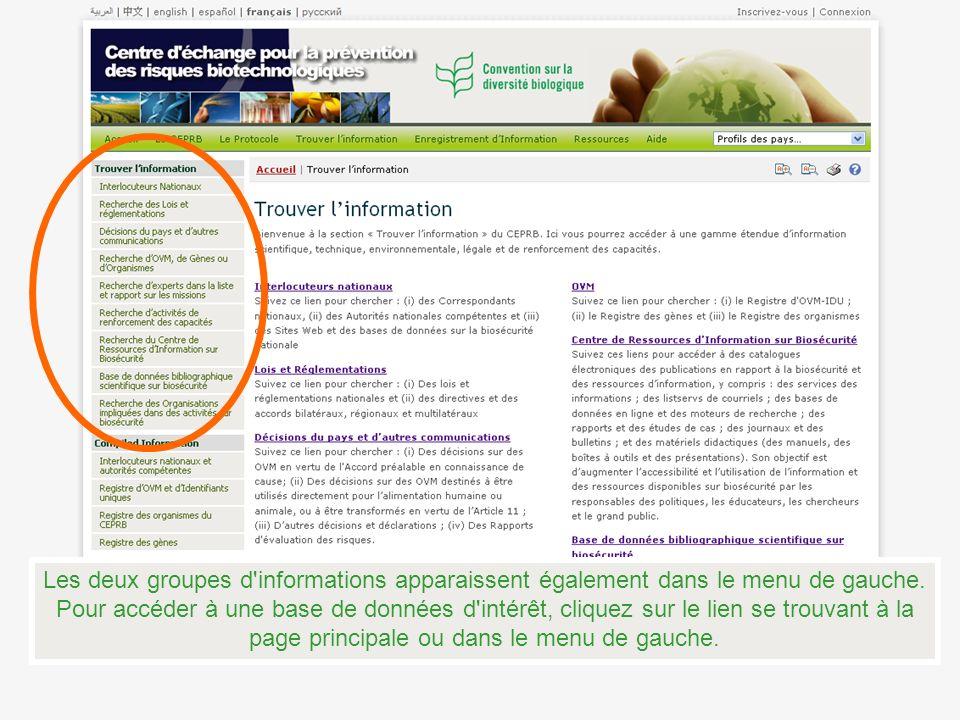 Les deux groupes d informations apparaissent également dans le menu de gauche.