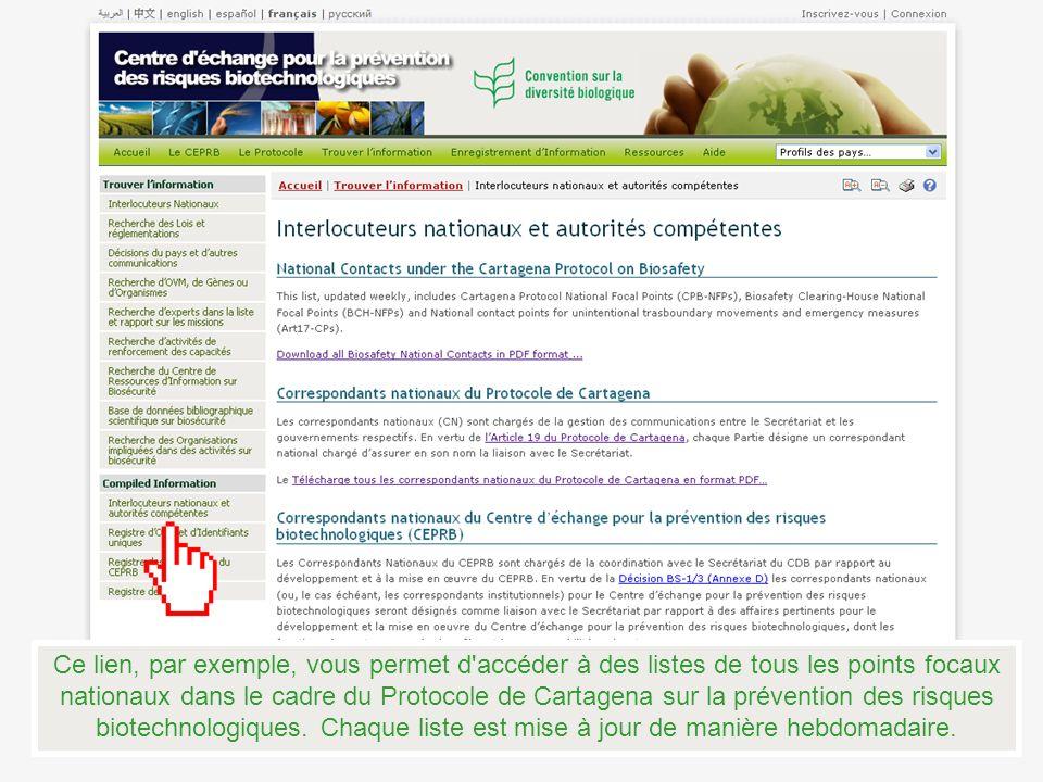 Ce lien, par exemple, vous permet d accéder à des listes de tous les points focaux nationaux dans le cadre du Protocole de Cartagena sur la prévention des risques biotechnologiques.